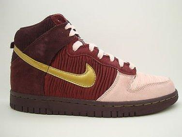 58b30d0ddc [316604-671] Girls Youth Nike Dunk High Deep Burgundy Metallic Gold Pink  Sneaker