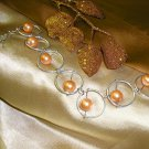 Silver Ring and Tangerine Bead Bracelet