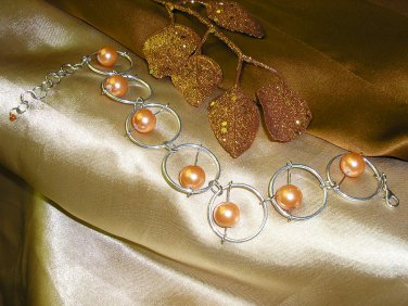 Silver Ring and Tangerine Bead Bracelet