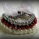 3 Strand Faux Pearl  Bead Bracelet with Ribbon Bow (Red-Silver)