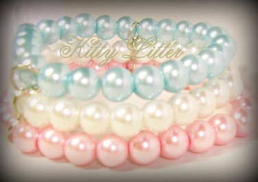 3 Strand Faux Pearl  Bead Bracelet with Ribbon Bow (Pink-Blue)