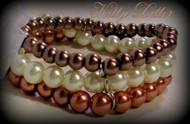 3 Strand Faux Pearl  Bead Bracelet with Ribbon Bow (Chocolate-Bronze)