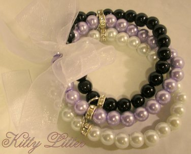 3 Strand Faux Pearl  Bead Bracelet with Ribbon Bow (Lavender-Black)