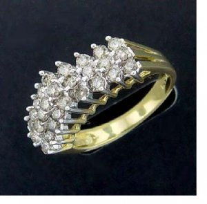 1 ctw. Diamond 10K Gold 3-Row Ring
