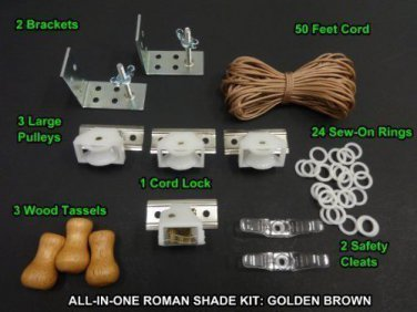 All-in-One ROMAN SHADE HARDWARE KIT, in Golden Brown (cord lock, pulleys, cor...