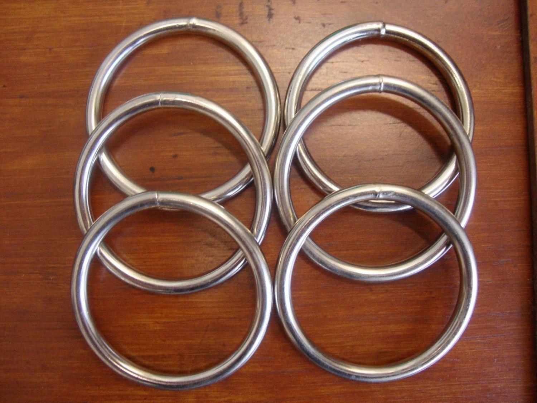 """6 ct: 2.5 inch (ID) Welded Steel Metal """"O"""" Rings/NICKEL PLATE/6 mm GAUGE"""