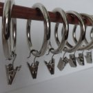 """14 QTY: Premium Nickel Plated Drapery Ring w/ clips -Extra Thick- 1 1/2"""" ID"""
