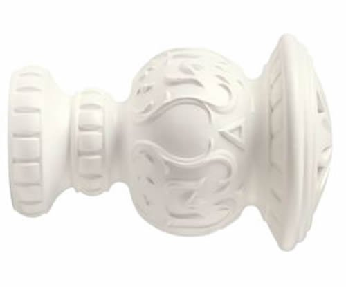 "Kirsch Wood Trends Classics Reign Finial, for 3"" pole, White (MPN# 56805025)"