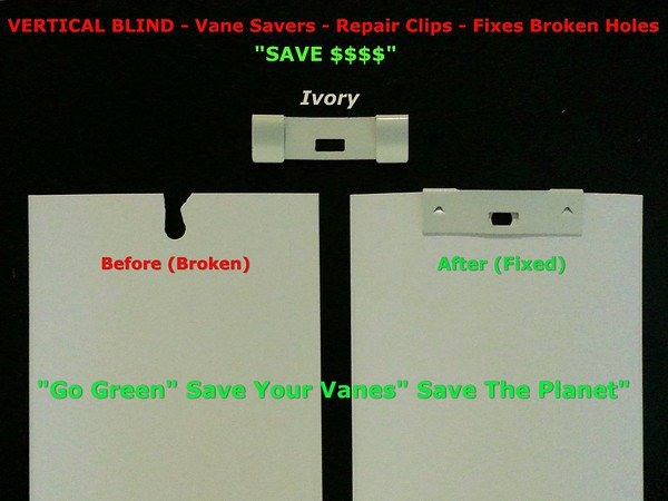 200 Pack VERTICAL BLIND Vane Saver ~ Ivory Curved Repair Clips ~ Fixes Broken Ho