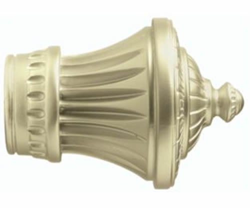 """Kirsch Wood Trends Classics Charleston Finial, for 1-3/8"""" pole, Satin Gold (MPN#"""