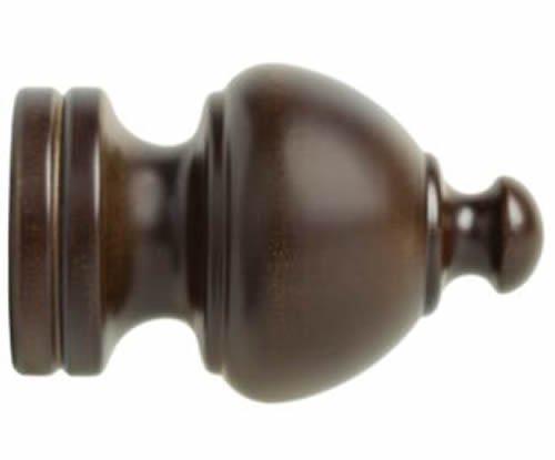 "Kirsch Wood Trends Classics Sherwood Finial, for 2"" pole, Coffee (MPN# 5509EG841"