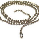 Number-10 Brass Beaded Chain with Connector, Nickel Plated, 3-Feet