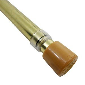 """Graber 3/4"""" Round Spring Tension Curtain Rod (48 to 80"""" Adjustable Width, Brass)"""
