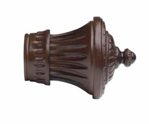 "Kirsch Wood Trends Classics Charleston Finial: 1-3/8"" pole, Mahogany (#36802083)"