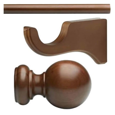 "Kirsch Wood Trend Kit:2"" Smooth Pole+Long Bracket+Ball finial,Walnut:4 FT"