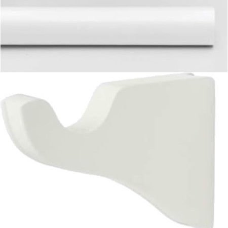 """Kirsch Wood Trends Smooth 1 3/8"""" Pole  + Classic Brackets, in White : 8 FT"""
