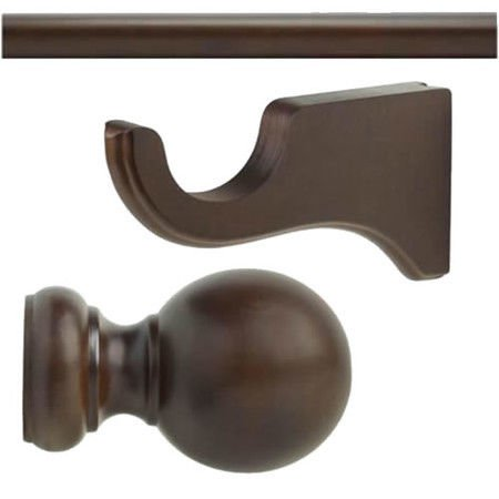 "Kirsch Wood Trend Kit:1 3/8""Smooth Pole+Long Bracket+Ball finial,Coffee:4 FT"