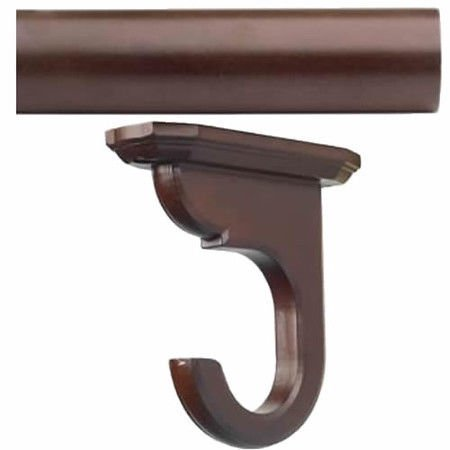 "Kirsch Wood Trends Kit:1 3/8"" Smooth Pole + 2 Ceiling Brackets, Mahogany:4 FT"