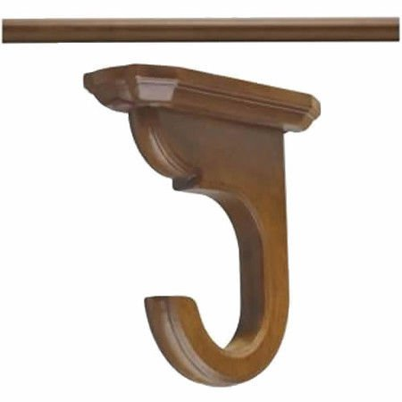 "Kirsch Wood Trends Kit:1 3/8"" Smooth Pole + 2 Ceiling Brackets, Hazelnut:4 FT"