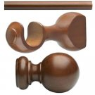 "Kirsch Basic Wood Kit:1 3/8"" Smooth Pole+Round Brackets+Ball finial, Walnut:8 FT"