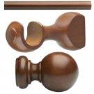 "Kirsch Basic Wood Kit:1 3/8"" Smooth Pole+Round Brackets+Ball finial, Walnut:4 FT"
