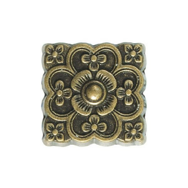 """25 QTY: Upholstery Nails, Small Filigreed Square,  Low Dome 1/2"""", Blackened Gold"""