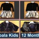 KOALA KIDS Black Velvet Tutu Dress with Black Fur Coat Size 12 Month/Both