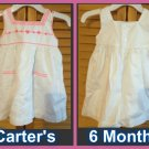 CARTERS White Beautiful Dress with Bloomer Size 6 Months