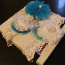 Bridal Garter.Wedding Garter,Set of 2. Lace & Rosette Garter,White,I vory Garter