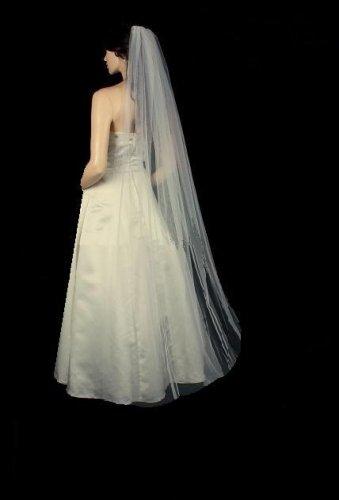 """Bridal Veil/Wedding Veil Floor length veil 25"""" 72"""".CUT EDGE  WIith Loops & Detachable comb"""
