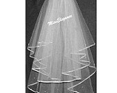 "Bridal Veil,Wedding Veil,WHITE 2T Shoulder Length 15"" 20"",Communion Veil,Hennight veil.Ribbon edge"