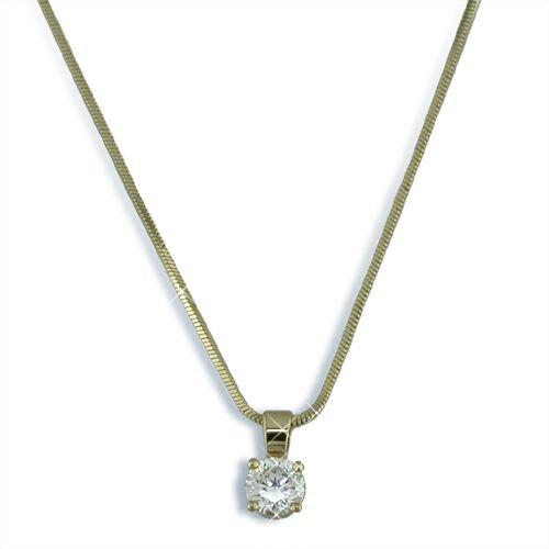 Round Cubic Zirconia gold finish necklace