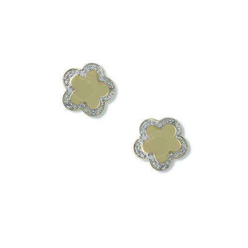 Flower Shape (Caramel) Cubic Zirconia Earrings