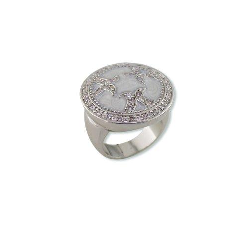 Pearlized Enamel Cubic Zirconia Ring
