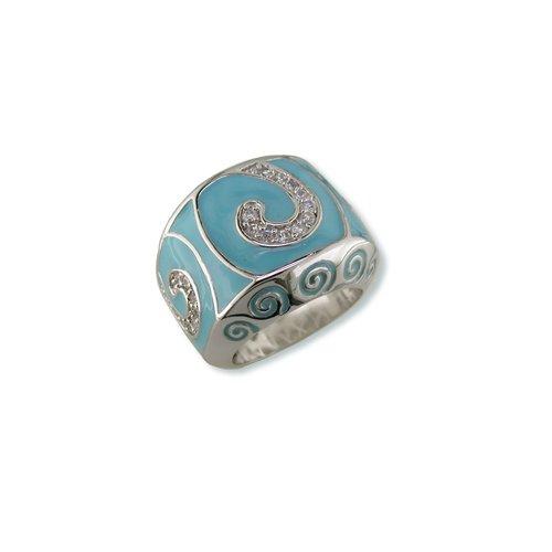Turquoise Swirl Cubic Zirconia Ring