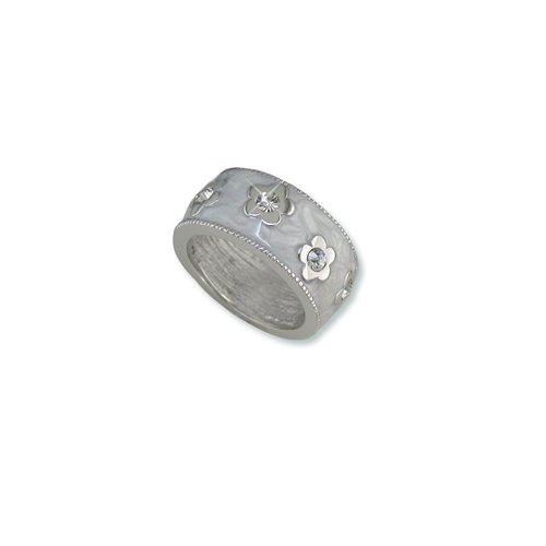 White Enamel Flower Cubic Zirconia Ring