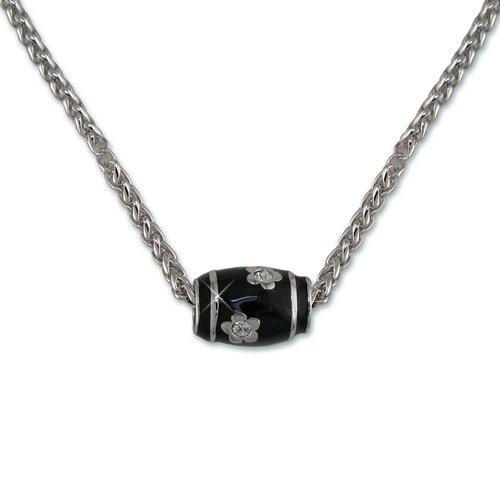 Black Enamel Flower Cubic Zirconia Necklace
