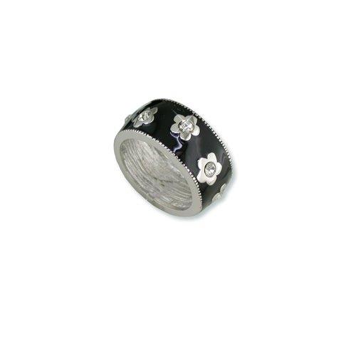 Black Enamel Flower Cubic Zirconia Ring