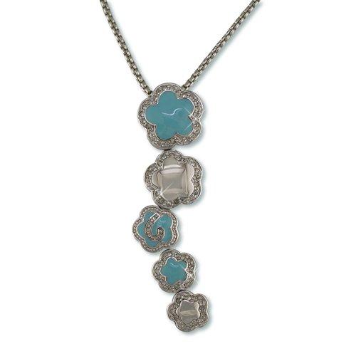 Turquoise Enamel Flower Cluster Cubic Zirconia Necklace