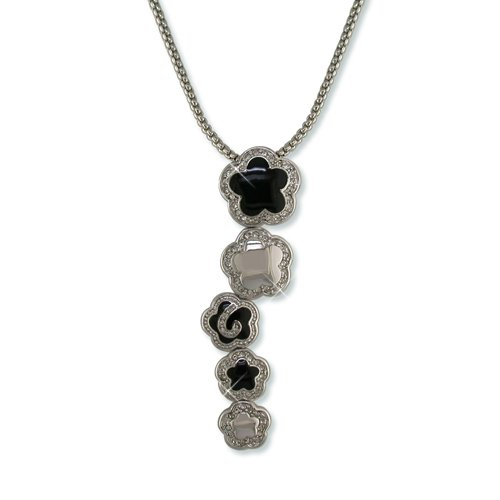 Black Enamel Flower Cluster Cubic Zirconia Necklace