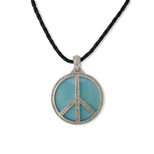 Peace Turquoise Enamel Cubic Zirconia Necklace