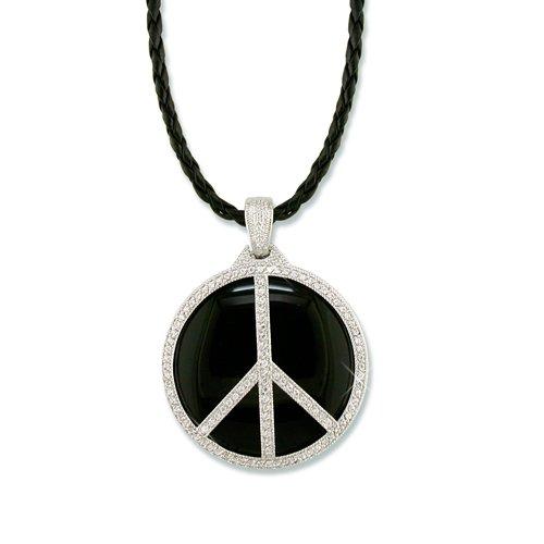 Peace Black Enamel Cubic Zirconia Necklace