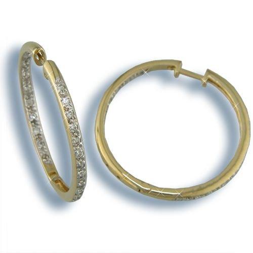 Cubic Zirconia Gold Inside-Out Hoop Earrings (H3170GT)