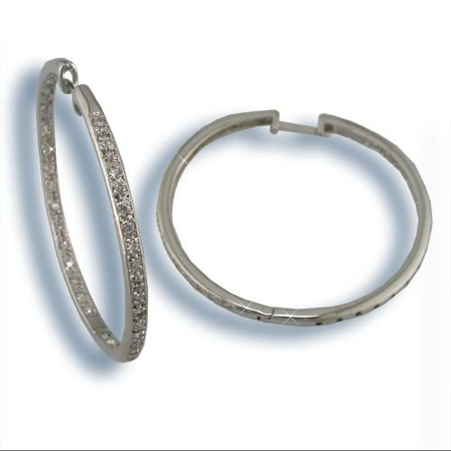 Cubic Zirconia Silver Inside-Out Hoop Earrings (H3171S)