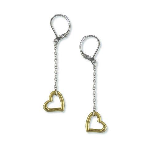 Silver/Gold Heart Dangle Earrings (EE6351)