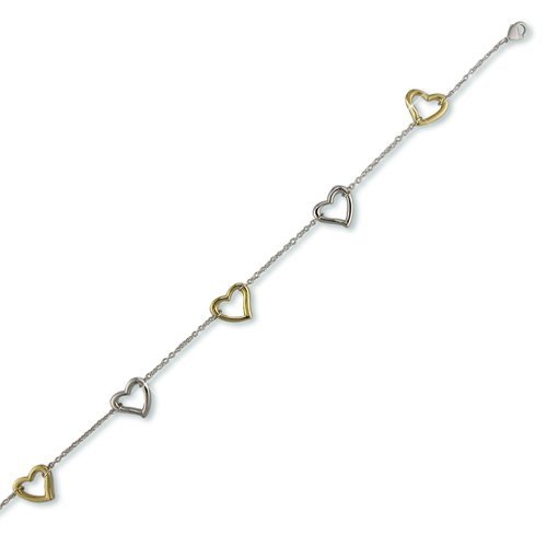 Two-toned Open Heart Anklet (A6351)