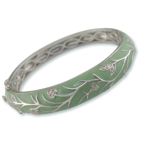 Green Mist Enamel Cubic Zirconia Bangle