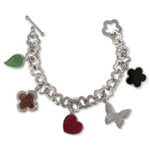 Cubic Zirconia & Multi-color Enamel Charm Bracelet (BA6354M)