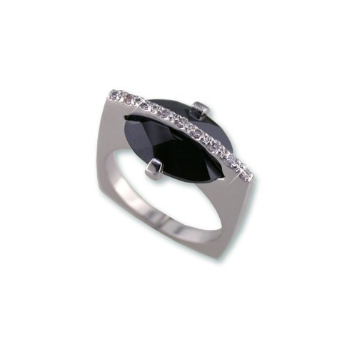 Trapped Jet Cubic Zirconia Ring