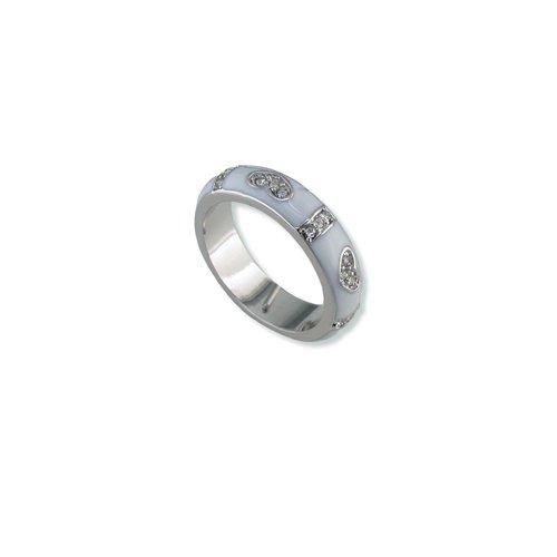 Hearts White Enamal Cubic Zirconia Ring (R6040PW)